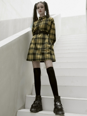 Yellow Plaid Street Fashion Gothic Grunge Long Sleeve Short Casual Dress