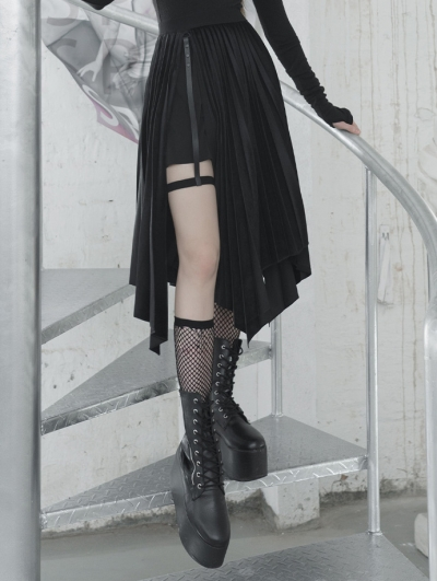 Black Street Fashion Gothic Grunge Velvet Irregular Pleated Casual Skirt