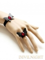 Black Butterfly Red Pendant Gothic Bracelet Ring Jewelry