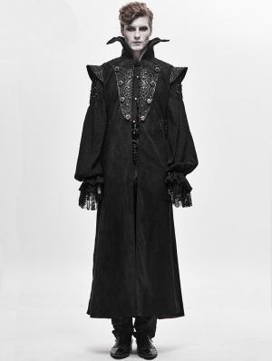 Black Retro Gothic Vampire Long Waistcoat for Men