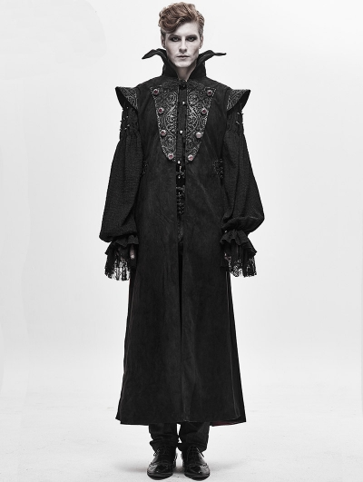 Black Retro Gothic Vampire Long Waistcoat for Men