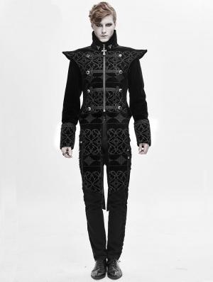 Black Retro Gothic Velvet Party Tail Coat for Men