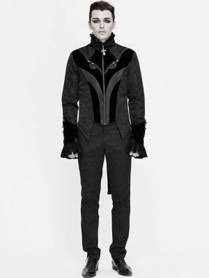 Black Retro Gothic Jacquard Velvet Party Swallow Tail Coat for Men