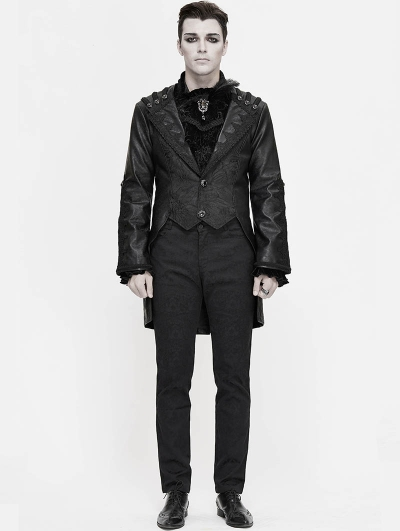 Black Retro Gothic PU Leather Party Tail Coat for Men