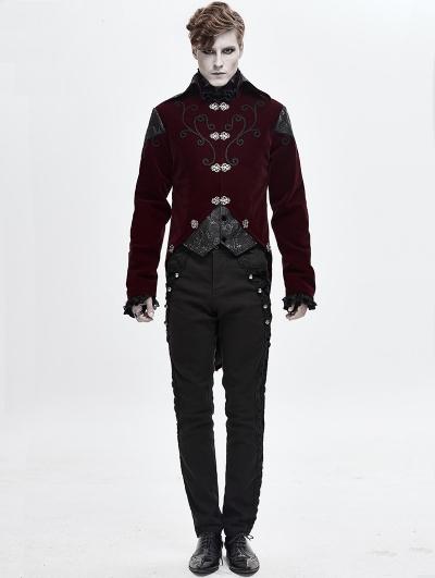 Wine Red Velvet Retro Gothic Swallow Tail Coat for Men