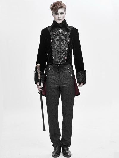 Black Velvet Retro Gothic Party Swallow Tail Coat for Men