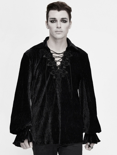 Black Vintage Gothic Loose Long Sleeve Shirt for Men