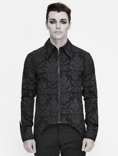 Black Vintage Pattern Gothic Long Sleeve Shirt for Men
