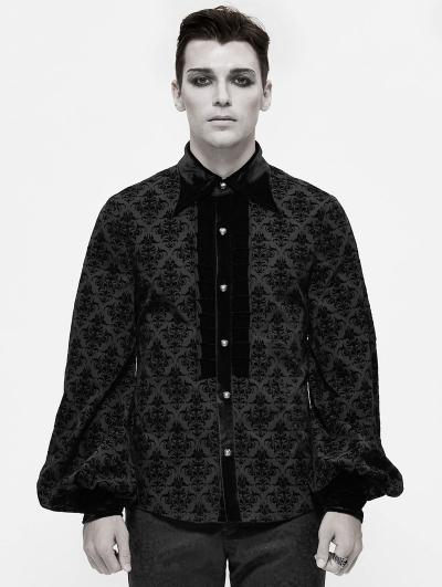Black Dark Gothic Vintage Pattern Long Sleeve Shirt for Men