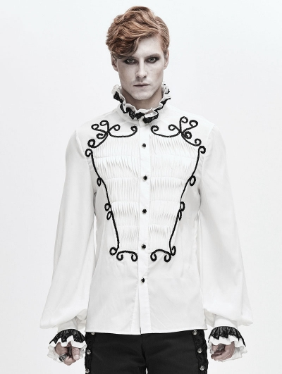 White Retro Gothic Palace Party Long Sleeve Shirt for Men