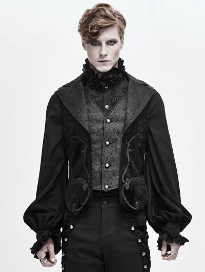 Black Retro Gothic Jacquard Velvet Waistcoat for Men