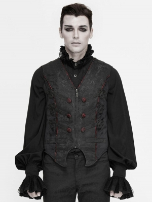 Black Retro Gothic Jacquard Party Waistcoat for Men