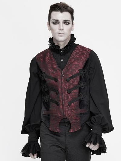 Dark Red Retro Gothic Jacquard Party Waistcoat for Men