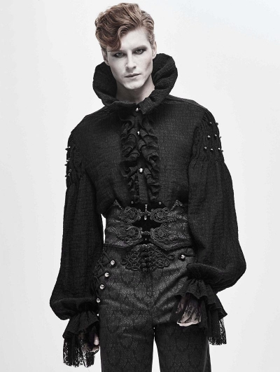 Black Retro Gothic Velvet Lace Applique Waistband for Men