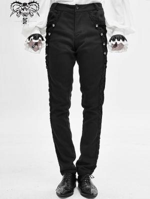 Black Vintage Gothic Party Pants for Men