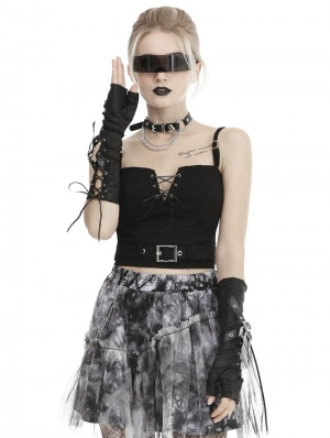 Black Gothic Punk Ripped Gloves for Women