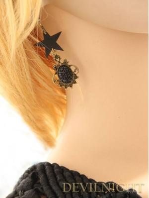 Black Vintage Five-pointed Star Pendant Earrings