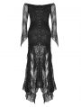 Black Romantic Gothic Lace Off-the-Shoulder Long Fishtail Dress