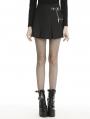 Black Gothic Grunge Punk Metal Chain Pleated Mini Skirt