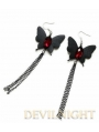 Black Butterfly Chain Pendant Gothic Earrings