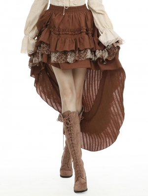 Brown Steampunk Frilly High-Low Skirt