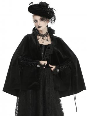 Black Vintage Gothic Velvet Bolero Cape for Women