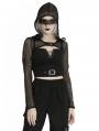Black Gothic Punk Fishnet Hooded Cape for Women