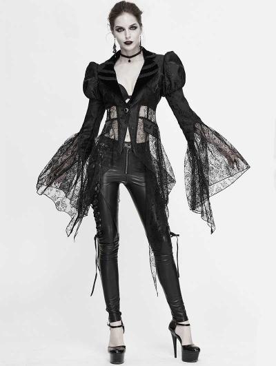 Black Vintage Sexy Gothic Lace Long Sleeve Irregular Jacket for Women