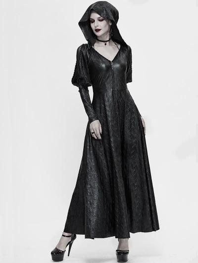 Black Vintage Gothic Long Hooded Dress Coat for Women
