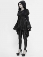 Black Vintage Gothic Victorian Long Sleeve Hooded Tailcoat for Women