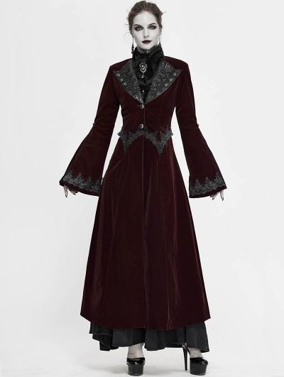 Wine Red Vintage Gothic Velvet Long Sleeve Dress Coat for Women
