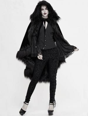 Black Gothic Gorgeous Velvet Winter Warm Hooded Fur Cloak for Women