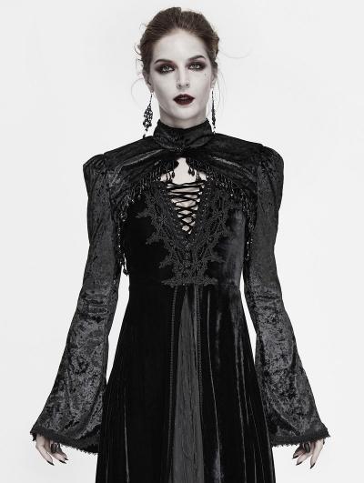 Black Vintage Gothic Velvet Long Sleeve Short Cape for Women