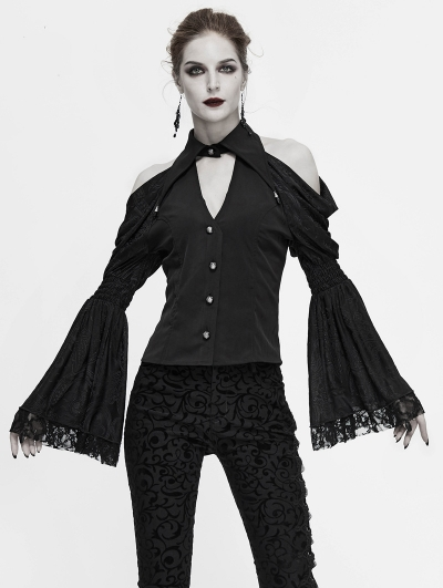 Black Vintage Gothic Sexy Off-the-Shoulder Long Sleeve Blouse for Women