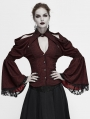 Dark Red Vintage Gothic Sexy Off-the-Shoulder Long Sleeve Blouse for Women