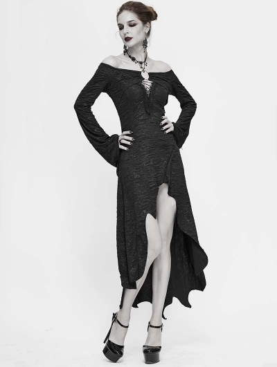 Black Sexy Gothic Off-the-Shoulder Irregular Long Sleeve High-Low Dress