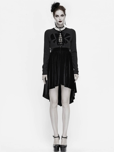 Black Sexy Gothic Heart Long Sleeve High-low Dress