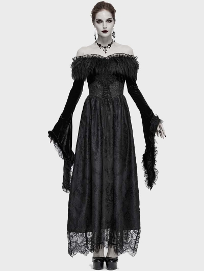Black Vintage Gothic Victorian Gorgeous Lace Fur Off-the-Shoulder Long Sleeve Party Dress