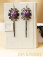 Purple Rose Chain Gothic Earrings