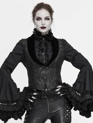 Black Vintage Gothic Jacquard Waistcoat for Women