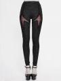 Black and Red Gothic Punk Rivet legging for Women