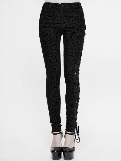 Black Vintage Gothic Slim Long Trousers for Women