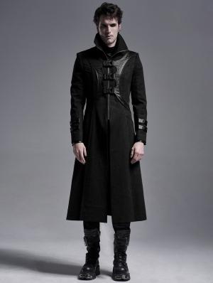 Black Gothic Punk Military Long Irregular Jacket for Men