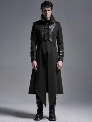 Dark Green Gothic Punk Military Long Irregular Jacket for Men