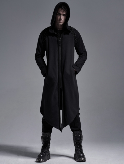 Black Gothic Casual Long Hooded Trench Coat for Men