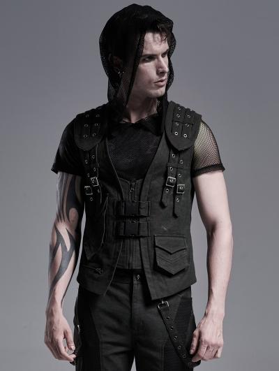 Field Ruins Black Gothic Punk Armor Waistcoat for Men