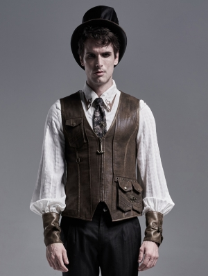 Brown Do Old Steampunk Vest for Men