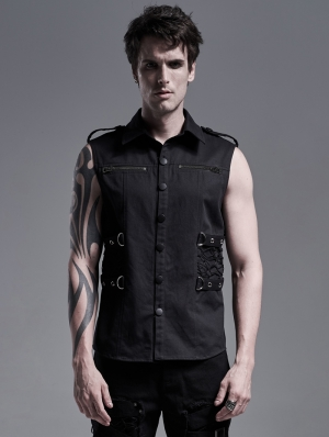 Black Gothic Punk Military Sleeveless Shirt for Men
