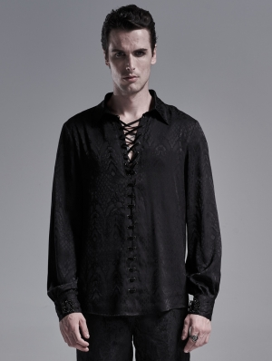 Black Gothic Jacquard Long Sleeve Casual Shirt for Men