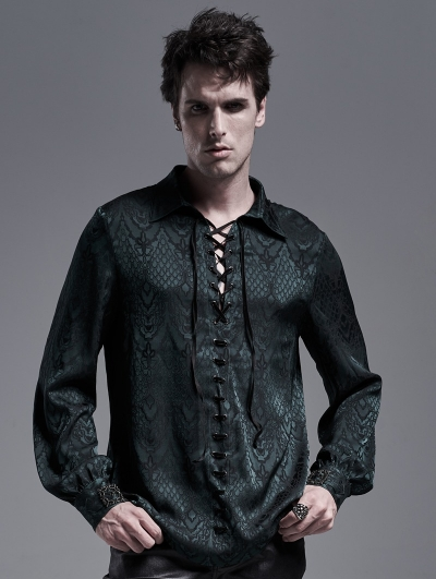 Dark Green Gothic Jacquard Long Sleeve Casual Shirt for Men